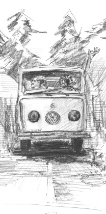 "Need A Ride ~ a drawing from ""Old Men Dream"" by Pete Fullerton"